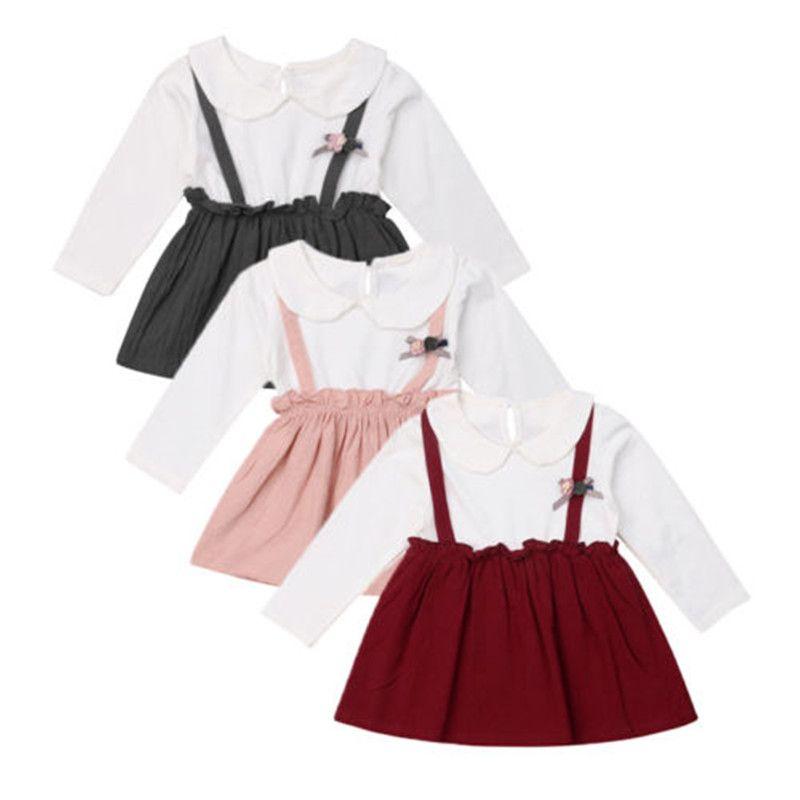 2019 New Toddler Baby Girl Dress Clothes autunno manica lunga principessa partito collare da sposa ragazze in cotone vestito