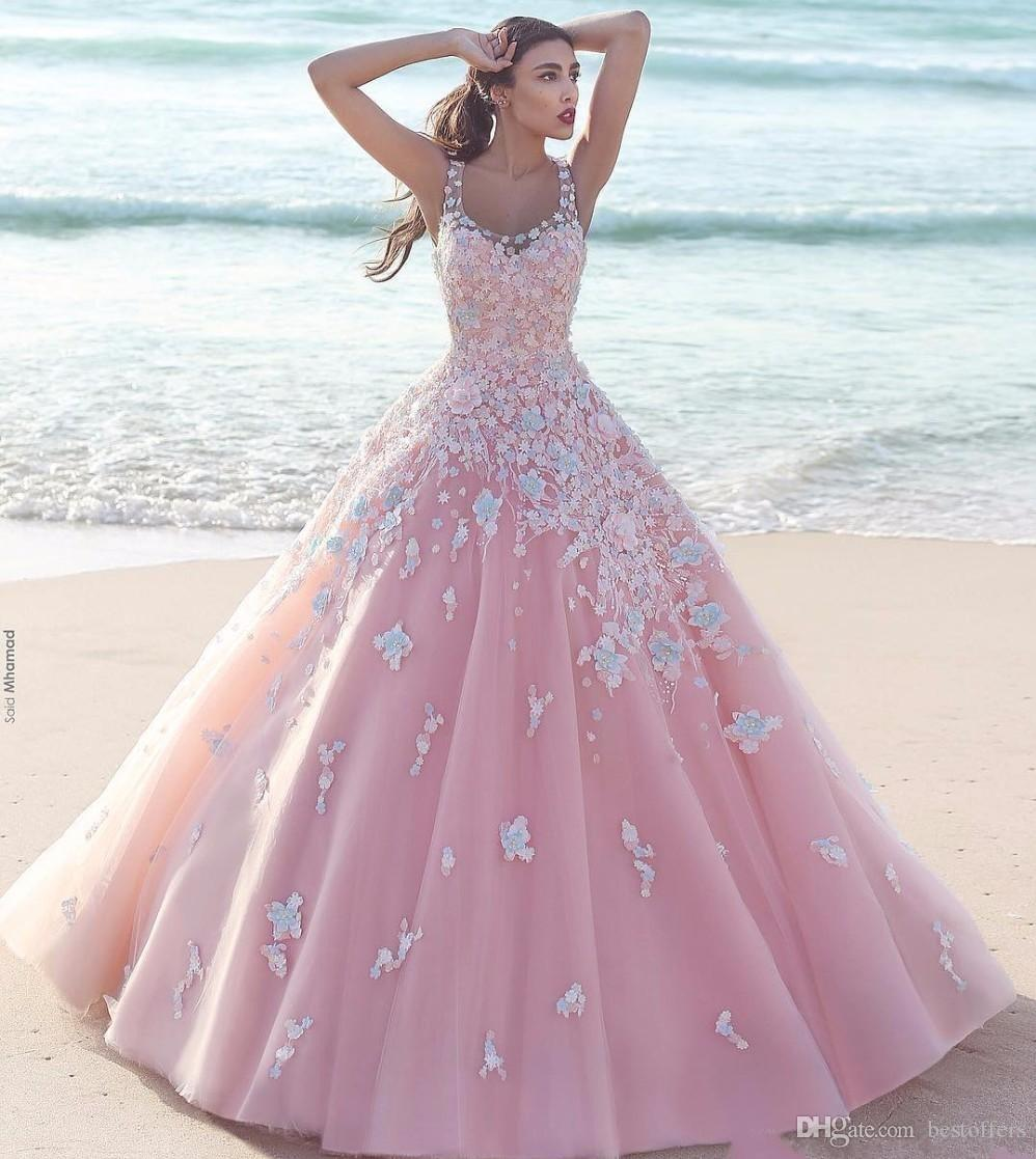Princess Floral Flower Beach Ball Gown Quinceanera Dresses 2020 Applique Tulle Scoop Sleeveless Lace Bodice Long Prom Dresses Formal Party
