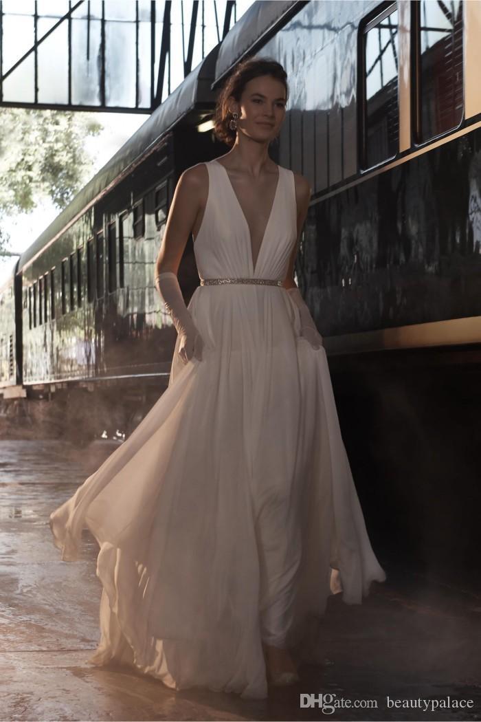 새로운 도착 A 라인 깊은 V 넥 웨딩 드레스 신부 가운 스윕 기차 아이보리 쉬폰 크리스탈 벨트 낮은 가격 쉬어 가기 웨딩 드레스