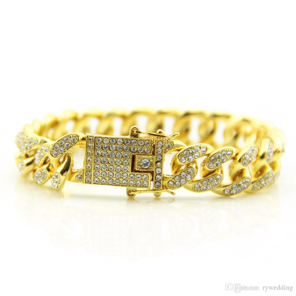 de luxe designer Bijoux Hommes Bracelet hip hop diamant Charme bracelets Argent Plaqué Or avec rouge cristal punk Style de mode bijoux