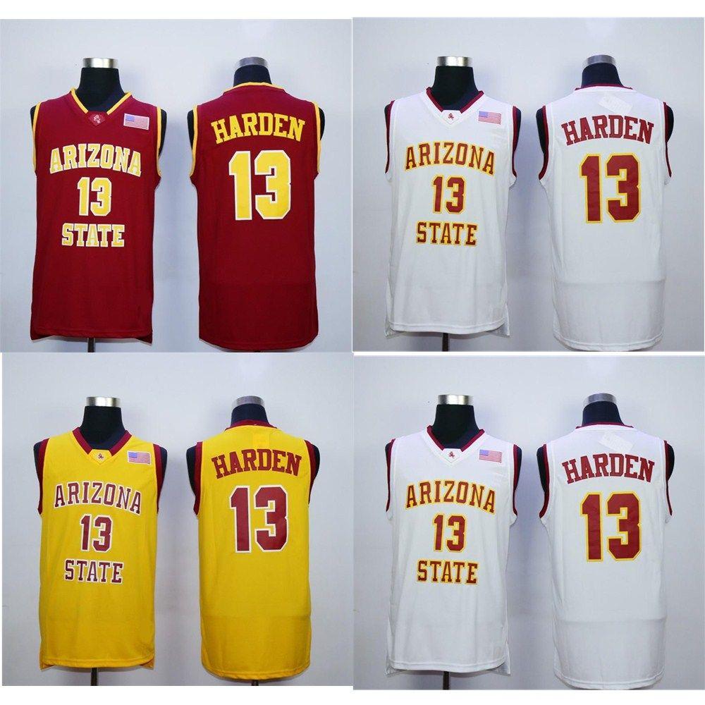 NCAA 13 James Harden College Jerseys Arizona State Sun Devils Jersey 남성 농구 팀 레드 멀리 스포츠 팬을위한 노란색 흰색 무료 배송