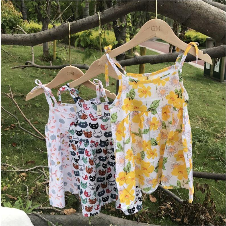 etek çocuk Plaj PARTİ uyuyan Kız elbise 2020 yaz pamuk ipek Koreli saf pamuk askı etek kız mevcut etek
