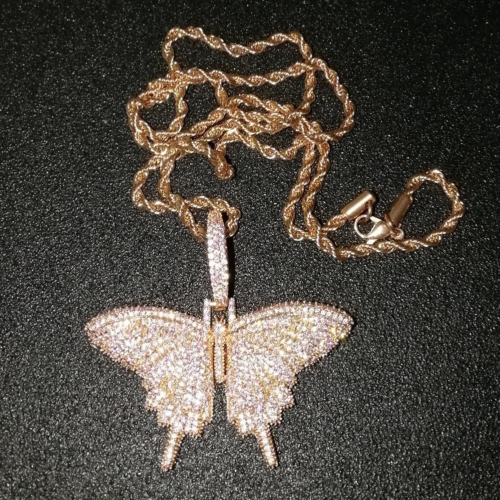 Iced Rosa animal Out borboleta Pingente Com Corrente Rosegold Gold Silver Cubic Zircon Homens Mulheres Hiphop Rocha Jóias