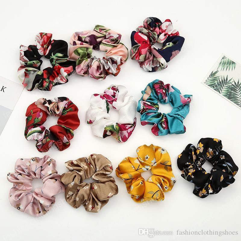 Fashion Women Faux Silk Flower Scrunchies Hair Tie Lady Simple Elastic Satin Hairbands Girls Hair Rope Headbands Hair Accessories