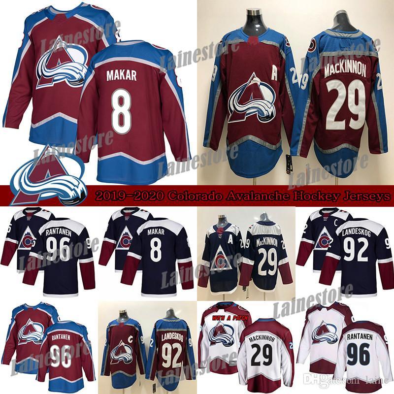 Colorado Avalanche Jersey 8 Cale Makar 29 Nathan Mackinnon 96 Mikko Rantanen 92 Gabriel Landeskog الهوكي الفانيلة