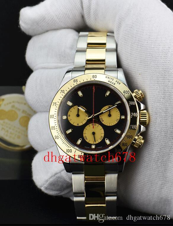 Luxus-Uhren Gelbgold Steel Black 116523 UHR CHEST 40mm Zwei Tone Gold asiatischen 2813 Nein Chronograph Mechanische Mode Herren Wristwatc