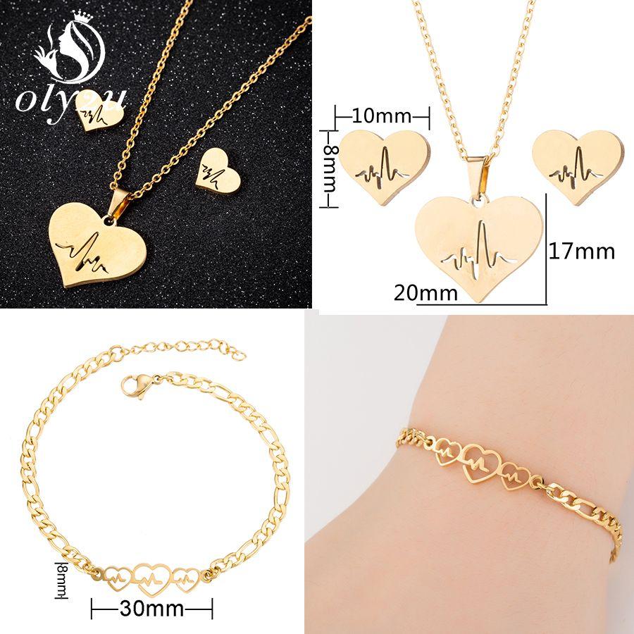 Fashion Gold Stainless Steel Jewelry Set Women Pendant Necklace Earrings Wedding