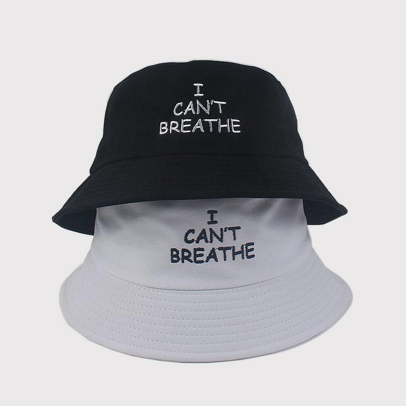 US STOCK I CAN'TBREATHE NOIR MATTER chapeau VIT de pêcheur brodé mode Avare Brim Chapeaux respirante Casual Aménagée Chapeaux