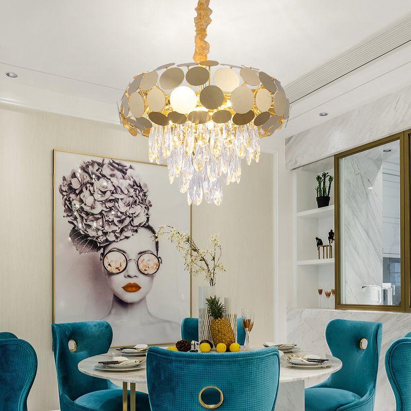 New Modern Chandelier Lighting For Living Room Creative Design Polished  Steel Crystal Light Fixtures Gold LED Lustres Modern Chandeliers Chandelier  ...