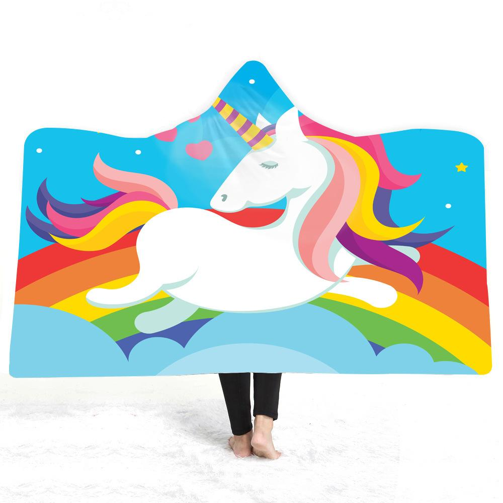 Unicorn Hooded Blanket For Adults Kids Cartoon 3D Printed Soft Plush Blanket Wearable Warm Throw For Home Travel Picnic