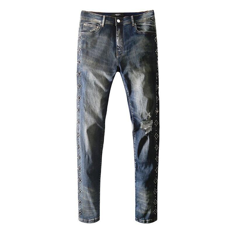 Homens S Jeans rasgados magro das calças motociclista nevoeiro Panther Soldado Men Slim Denim Hetero Buraco Skinny Jeans dos homens do desenhista calça
