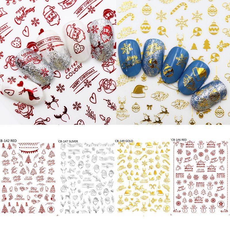 Weihnachten Nail Art Aufkleber Gold Silber rote Farbe Schneeflocke Schneemann, Weihnachtsbaum, Weihnachts hohle Nagel-Abziehbilder Manicure Dekor HHA882