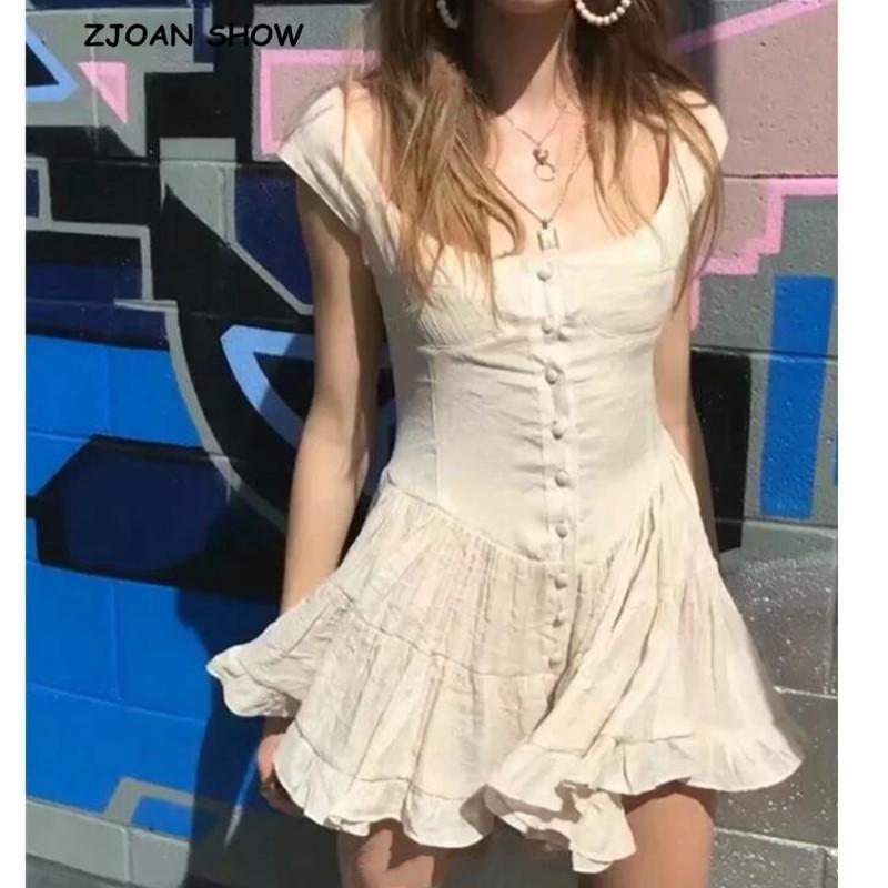 2020 Sweet Tek göğsü Düğmeler Kolsuz Kısa Tulum Tatil Kadınlar Vintage Alt fırfır Flare Kısa Romper tulumları
