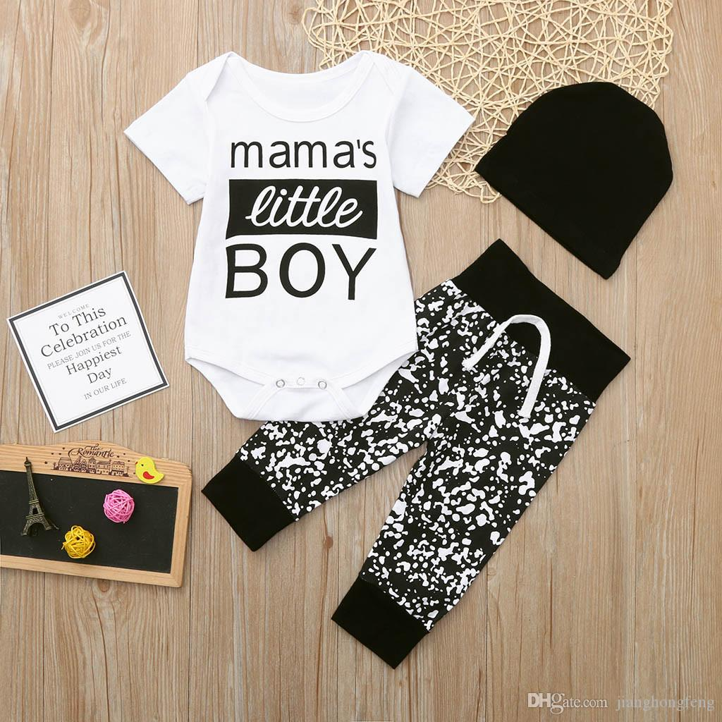 3Pcs Baby Boy Girls Clothes Set 2020 Summer Short Sleeve O Neck Kid Baby Clothes Letter Romper Bodysuit Pants Hat Outfits Set