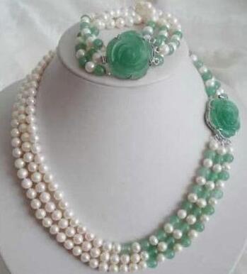 7-8mm branco perla de Akoya Esmeralda colarinho natural pulsera conjunto