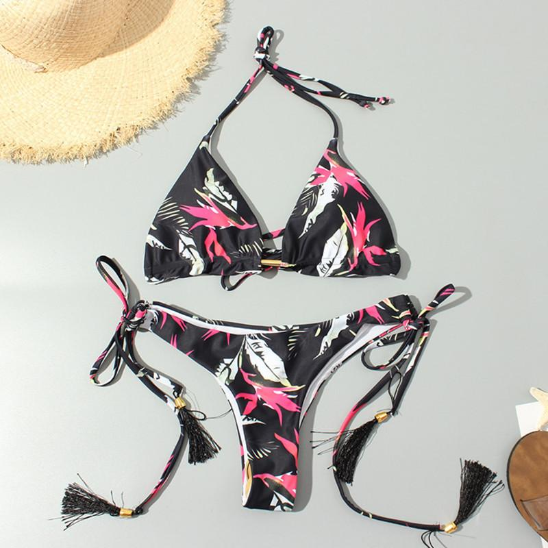2019 Bikini Women Triangle Push Up Padded Print Bikini Sets Halter Tassel Two Piece Thong Bottoms Swimwear Swimsuit Sexy