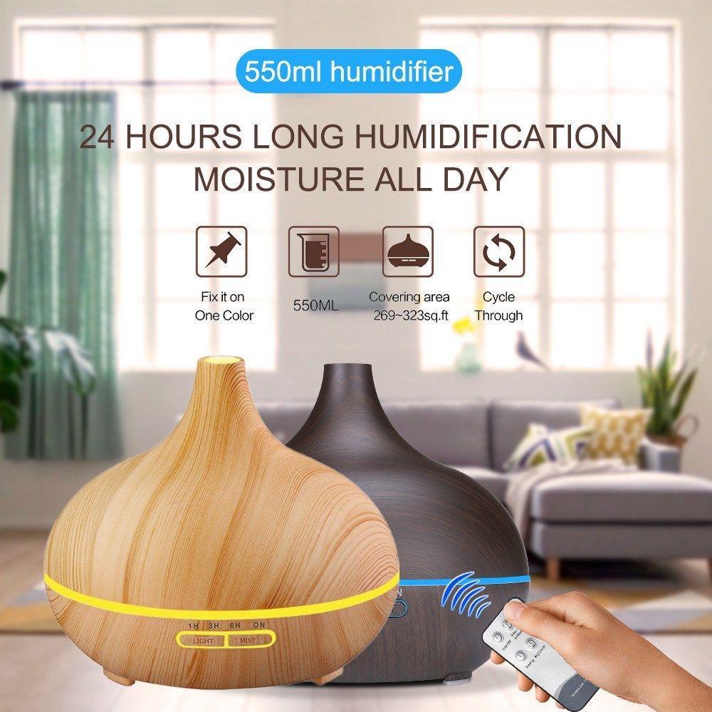 Nueva luz / oscuridad de madera 550ml humidificador de aire de control remoto Aceite esencial difusor fresco de Cambio Aroma fabricante de la niebla de 7 colores LED