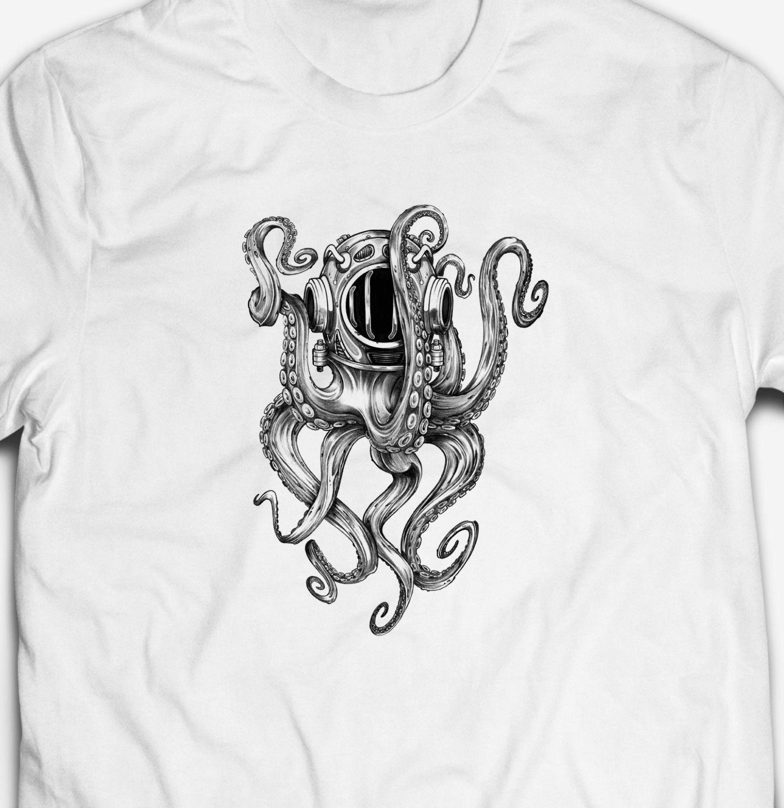 Be Cool Cute Octopus Contton t shirt for mens Black