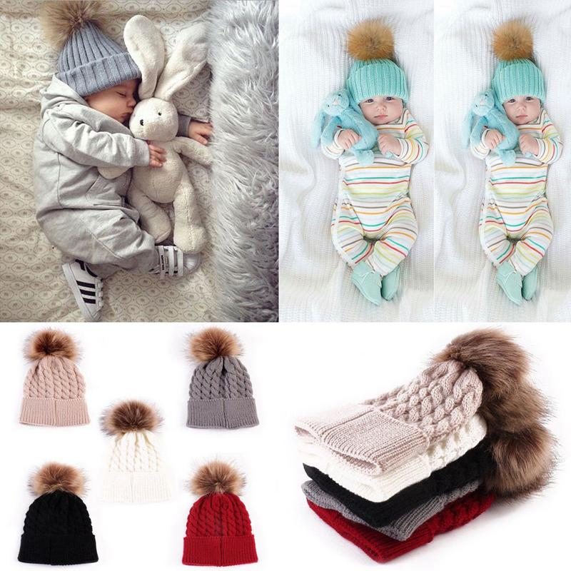 2018 Sweet New Winter Warm Lovely Baby Kids Newborn Girls Boys Cap Toddler Knitted Crochet Beanie Hat 5 Color