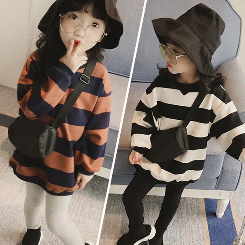 Hoodies de las muchachas de la niña de la ropa del resorte niños del otoño con capucha para las muchachas camiseta de rayas de manga larga de los niños camiseta de las tapas