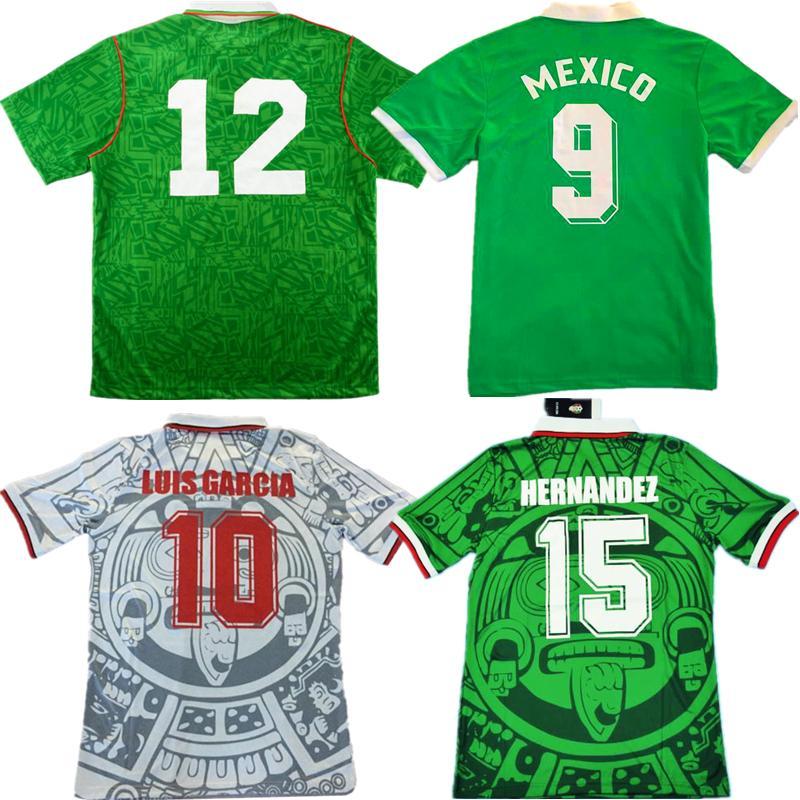1994 레트로 멕시코 BLANCO 축구 유니폼 1986 1998 HERNANDEZ H.SANCHEZ 반환 축구 셔츠 루이스 가르시아 고대 타이츠