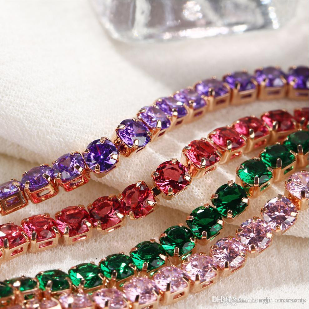 Chain bracelet Color Round Crystal Channel setting series connection gold color plated alloy metal chain Red Purple white