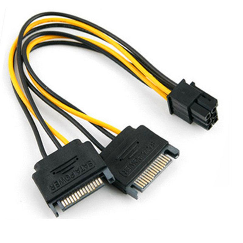 Dual SATA 15Pin Male M to PCI-e 6 Pin Female F Video Card Power Cable For EVGA ASUS plug into a Video (VGA) Card