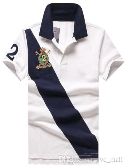 High Quality Fashion Men Casual Polo Shirts Big Pony Embroidery Horse Team Club Striped Polos Cotton Business Tees Top Navy Blue White Red