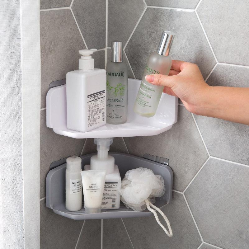 Prateleiras de drenagem de canto Prateleira de armazenamento de banheiro Prateleira de lavagem de parede livre de energia Punch-Free