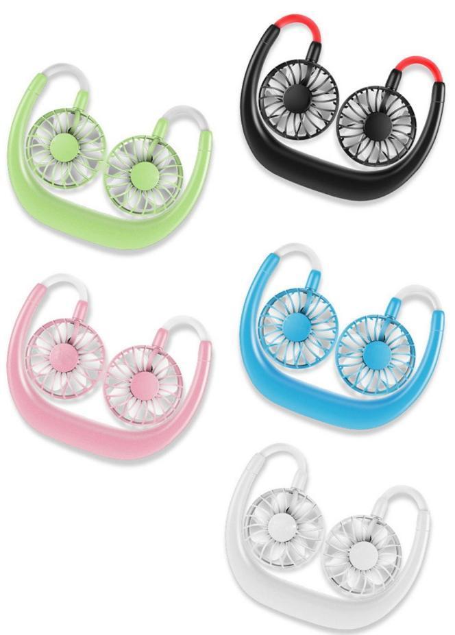 Portable Fan mains libres personnel mini ventilateur USB rechargeable cou ventilateur 360 degrés Réglage tête Hanging ventilateurs cou pour Voyage d'extérieur