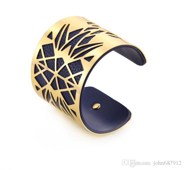 GX003 Fashion design Hollow Wide Cuff Opening Bangle Leather Bracelets for Women Men Gold Silver Color Indian Bracelet Jewelry Blue