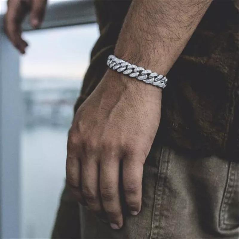 Bracciali catena di moda fuori ghiacciato Miami cubana di collegamento Nuovo Hip Hop oro Bracciali Mens simulati braccialetti di diamanti gioielli