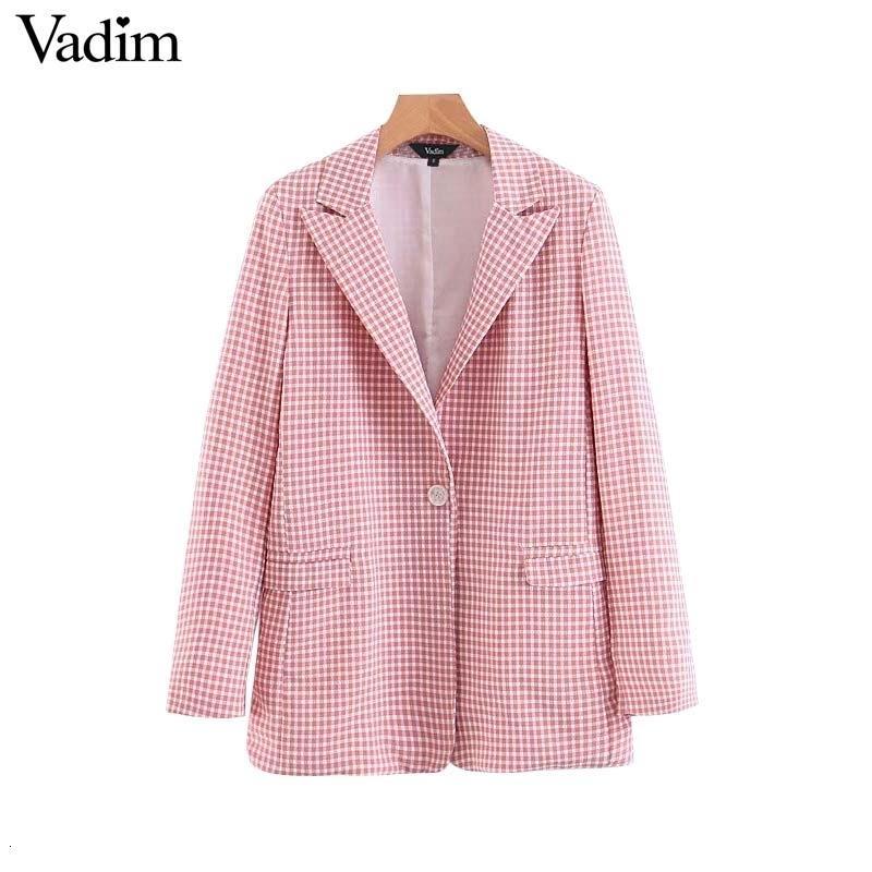 Вадим женщины розовый плед блейзер карманы одной кнопки с длинным рукавом женские повседневные пальто офисная одежда верхняя одежда шикарные топы CA441 CJ1911109