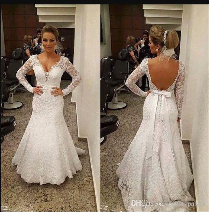 Design de beleza sereia backless manga longa praia vestidos de casamento v neck capela trem branco laço cinto novo vestidos nupciais