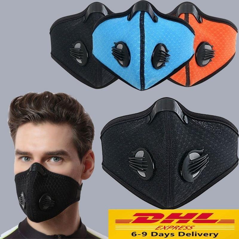 DHL motocicleta a prueba de polvo smog Riding máscara de filtro reemplazable Activado Carbon media máscara de respiración con la herramienta de equipo de protección de válvulas