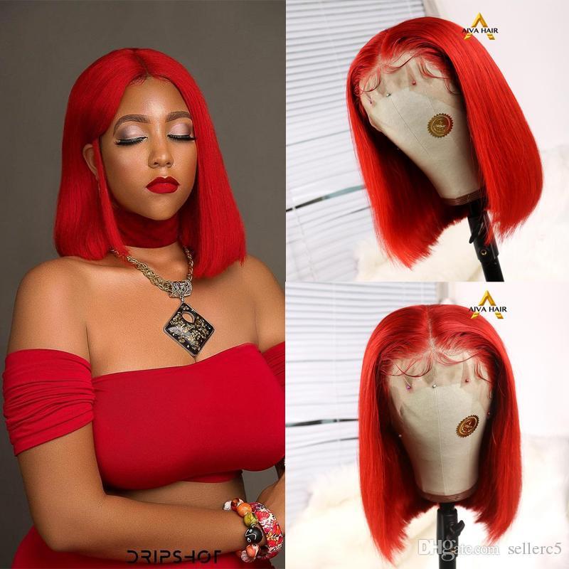 AIVA Favorite Dark Red \ Jaune perruque de cheveux humains du Brésil Remy Lace Front perruque de cheveux avant plumé Violet court Bob perruques pour les femmes noires
