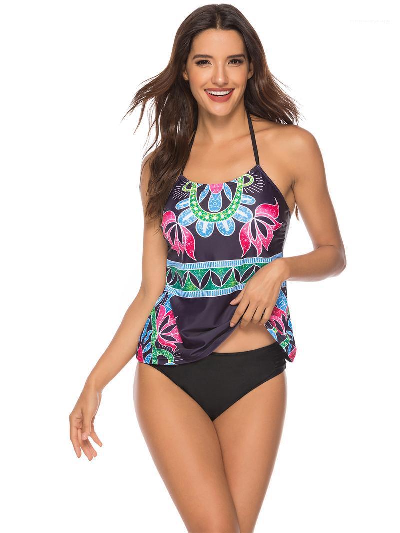 ارتفاع الخصر عارضة السيدات tankinis مجموعات هوليداي بيتش الأزياء أنثى ملابس سباحة الصيف للمرأة الزهور مطبوعة البيكينيات الرسن