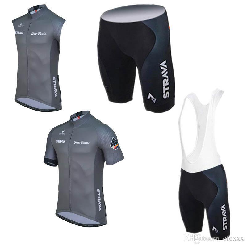 Il team STRAVA su misura per uomo ciclismo manica corta / pantaloncini senza maniche / pantaloncini maglia sportiva estiva imposta equipaggiamento ciclismo S8914