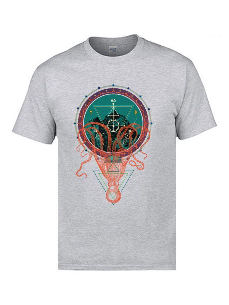 2019 T-shirts Dernières Triangulum montagne Octopus Mandala Louts normal T-shirts Hauts hommes de haute qualité Chemises Marque-Vêtements