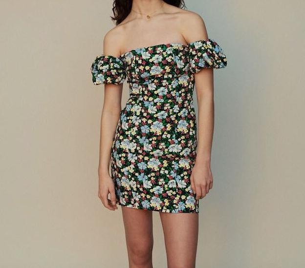 2019 verano otoño invierno manga corta cuello slash estampado floral mini vestido corto mujeres vestidos de moda AG10235093M