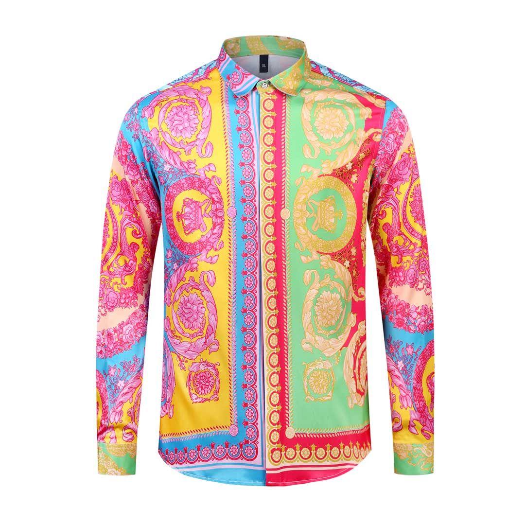 الكلاسيكية اللباس قمصان واحدة برستد كم طويل ملابس رجالية عادية المتناثرة ميدوسا قميص رجال الأعمال أزياء ضئيلة قمصان M-2XL