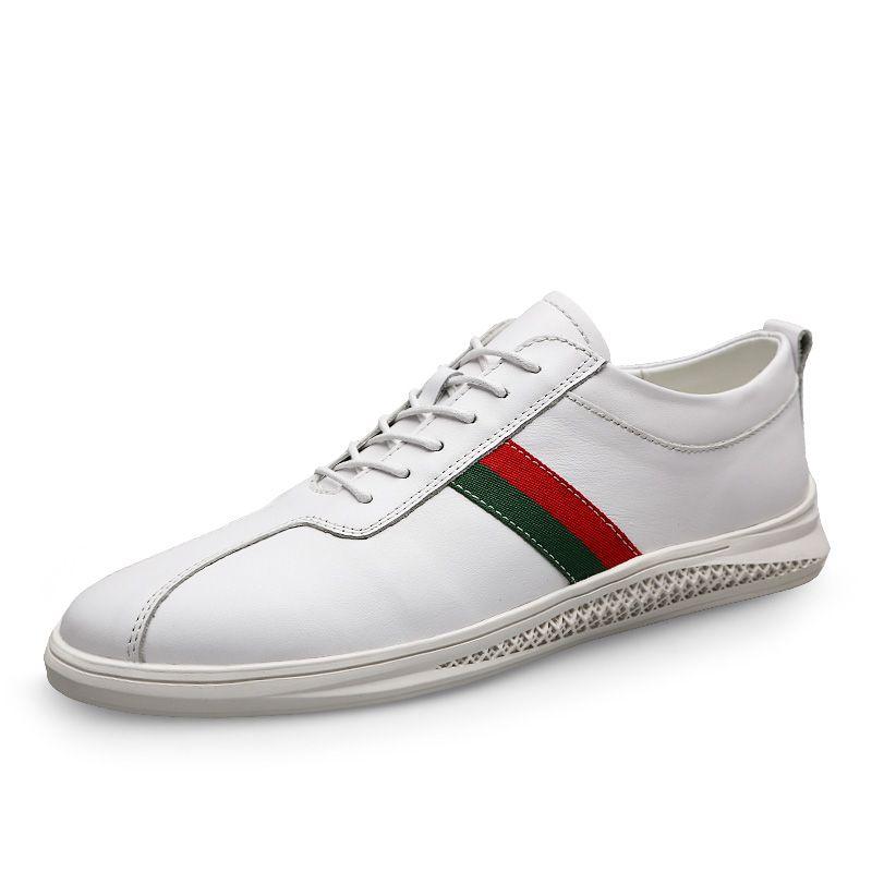 Walking-Schuhe für Männer Qualitäts-beiläufige Kuh-echtes Leder-Ebene weiche Schuhe schnüren sich oben Mode männlich Comfortable