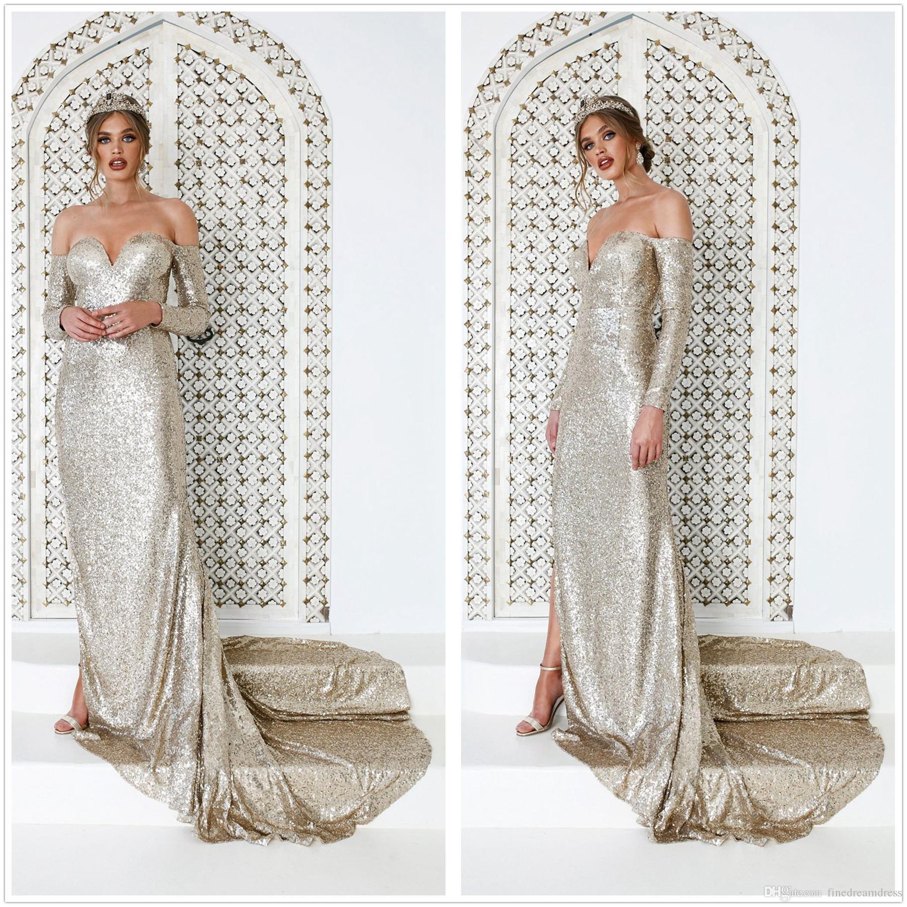 Elegantes lentejuelas de oro sirena vestidos de noche largos 2019 fuera del hombro manga larga tren de barrido partido formal vestidos de baile