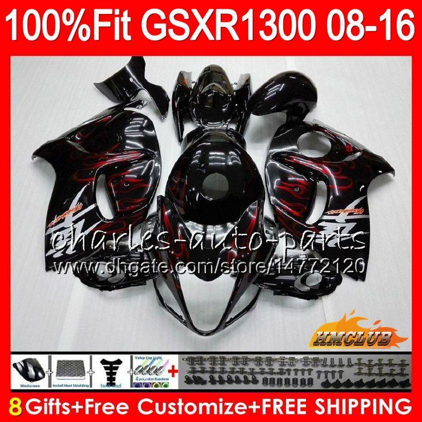 Inyección para SUZUKI GSXR1300 Hayabusa 08 09 10 2008 2009 2010 25HC.1 GSXR 1300 llamas rojas GSXR-1300 11 12 13 2011 2012 2013 Carenado OEM
