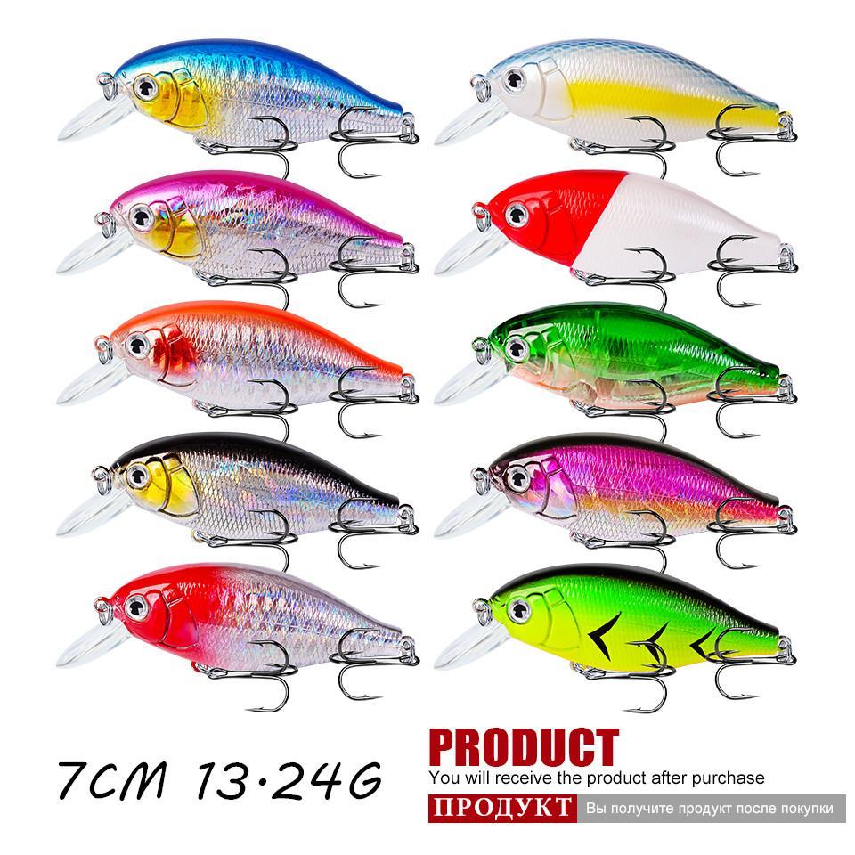 10 Color de 7cm 13.24g manivela señuelo de plástico duros Cebos Señuelos 6 # gancho de pesca Ganchos LL-016