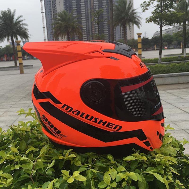 Orange Motorcycle helmet off road casque casco professional rally racing helmet with corn Full face