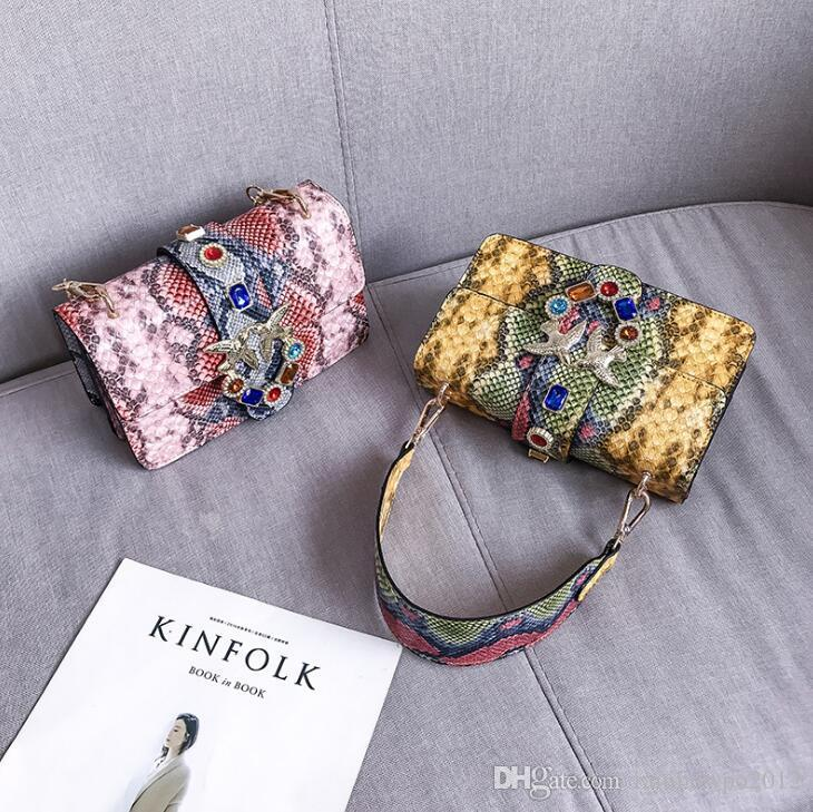 Factory wholesale women handbag new color serpentine shoulder bag flip contrast leather messenger bag exquisite color diamond swallow bag
