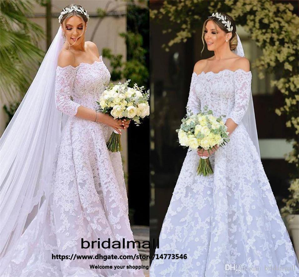 Vintage 2020 Apliques de encaje vestidos de novia de una línea del hombro vestidos de la playa de novia Tren de Boho Vestidos Corte de boda Vestidos de novia