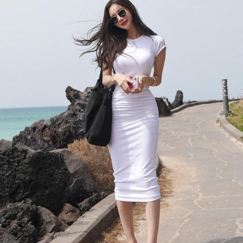robe noire Femme Boho filles T-shirt corps serré sexy robe d'été blanche femmes Robes Femme soirée o soirée cou Robe Vestido