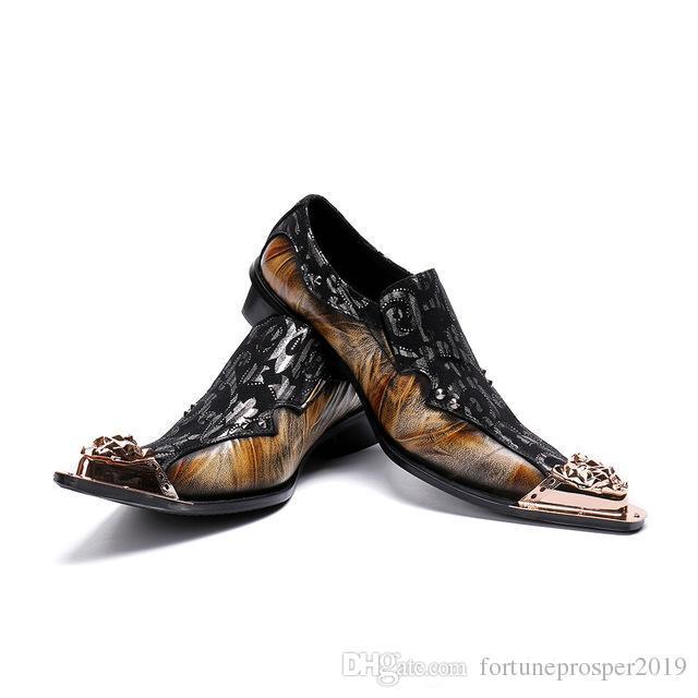 Classico Sapato Social Masculino Elegante uomo vestito floreale scarpe mocassini punta in acciaio oro Suit scarpe da ufficio scarpe brogue